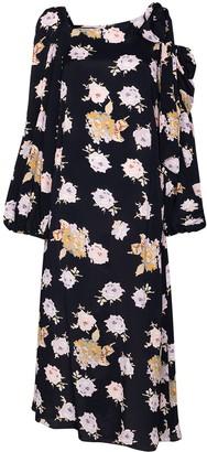 Rentrayage Asymmetric Floral-Print Dress