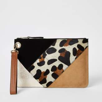 River Island Womens Beige leather colour blocked clutch bag