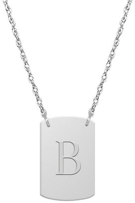 Jane Basch 14K Block Initial Dog Tag Necklace (A-Z)