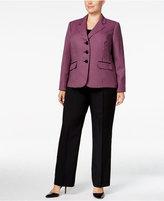 Le Suit Plus Size Three-Button Tweed Pantsuit