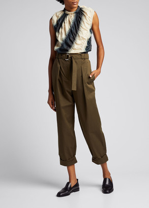 3.1 Phillip Lim Belted Twill Utility Pants with Rolled Cuffs