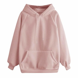 Xmiral Hoodies Women Solid Color Hooded Tops Drawstring Pocket Jumper Sweatshirt Long Sleeve Autumn Winter Pullover (Pink M)