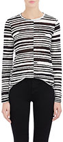 Proenza Schouler Women's Blurred-Stripe T-Shirt-BLACK, WHITE
