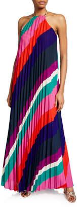 Trina Turk Plume Striped Pleated Maxi Halter Dress