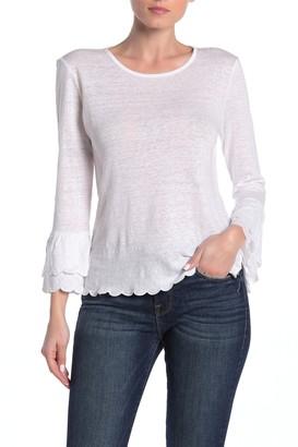 Frame Scalloped Bell Sleeve Linen T-Shirt