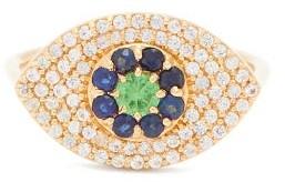 Ileana Makri Blossom Drops Eye Sapphire & 18kt Gold Ring - Yellow Gold