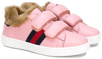 Gucci Kids Faux Fur Trim Sneakers
