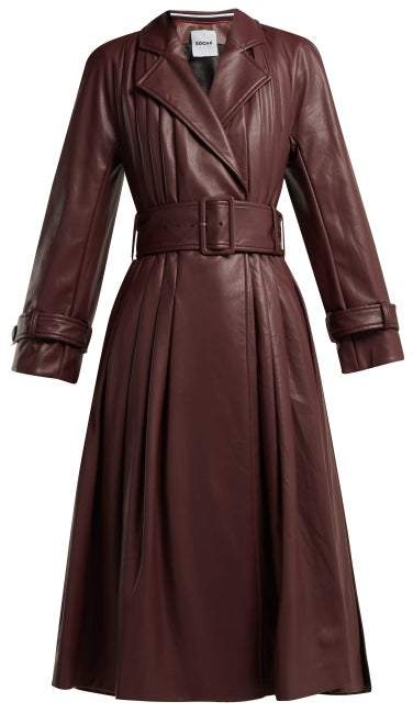 Koché Belted Faux Leather Trench Coat - Womens - Burgundy
