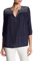 Max Studio Embroidered 3/4 Length Sleeve Blouse