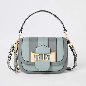 River Island Blue RIRI buckle cross body satchel bag