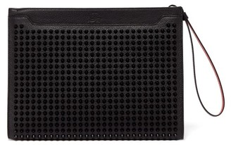 Christian Louboutin Skypouch Stud-embellished Leather Clutch - Mens - Black