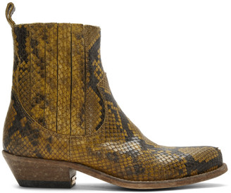 Golden Goose Tan Limited Edition Python Santiago Boots