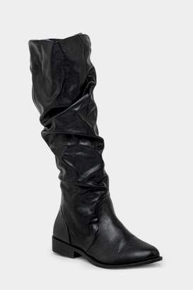 Qupid Zion Scrunched Tall Boot - Black