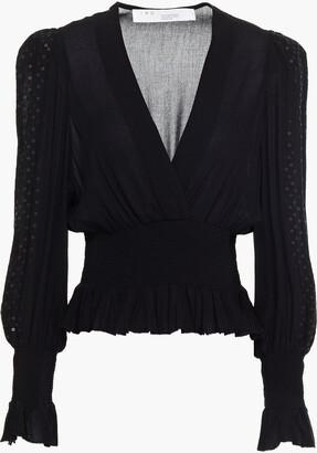 IRO Ensuie Shirred Sequin-embellished Crepe Blouse