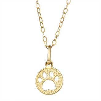 Charming Girl 14K Gold Paw Print Pendant