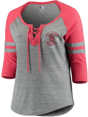 New Era Women's 5th & Ocean by Heathered Gray/Red St. Louis Cardinals Plus Size Jersey Tri-Blend 3/4-Sleeve Raglan Lace-Up V-Neck T-Shirt