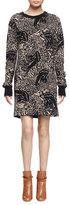Chloé Long-Sleeve Abstract-Animal Shift Dress, Brown/Black