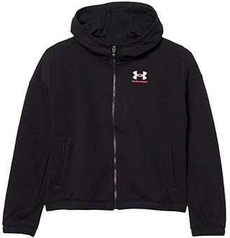 Under Armour Kids Rival Fleece Full Zip Hoodie (Big Kids) (Black/White) Girl's Clothing