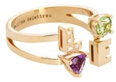 Delfina Delettrez Love 18kt Yellow Gold Peridot, Amethyst And Diamond Ring