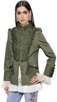 Ermanno Scervino Frilled Stretch Cotton Canvas Jacket