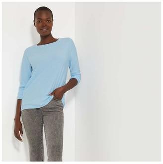 Joe Fresh Women's Dot Long Sleeve Top, Light Blue (Size S)