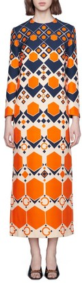 Gucci GG Hexagon Print Wool Silk Long Dress