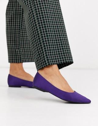 Asos DESIGN Lucky pointed ballet flats in purple satin