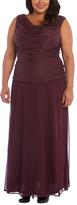R & M Richards Wine Drape-Neck Gown - Plus