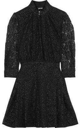 Just Cavalli Gathered Metallic Lace Mini Dress