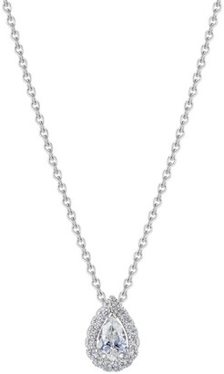 De Beers White Gold and Diamond My First Aura Pear-Shape Necklace