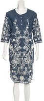Sea Embroidered Midi Dress