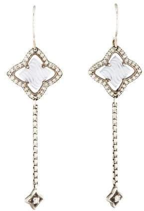 David Yurman Diamond & Chalcedony Quatrefoil Drop Earrings