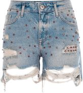 River Island Womens Blue studded ripped denim boyfriend shorts