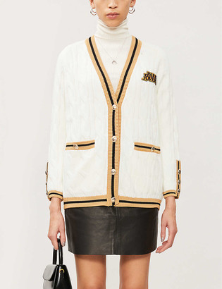 Maje Patch-embroidered wool-blend cardigan