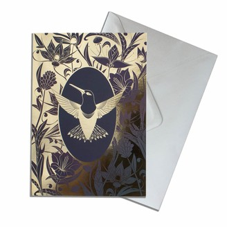 The Curious Department Elemental Hummingbird Gold Greeting Cards Pack Of 10
