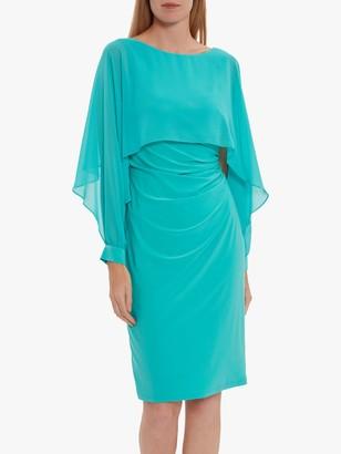 Gina Bacconi Olma Jersey Cape Dress, Sea Green