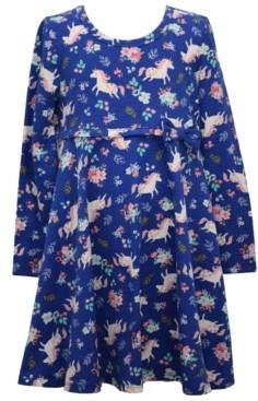 Bonnie Jean Little Girls Unicorn All Over Printed Knit Skater Dress