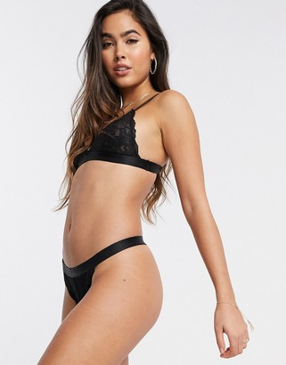 Topshop lace triangle bra in black