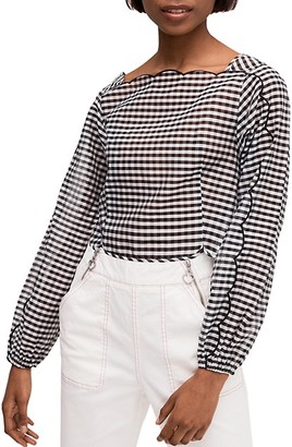 Kate Spade Embroidered Gingham Cotton Silk Blouse