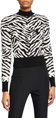 A.L.C. Lola Animal-Print Mock-Neck Sweater