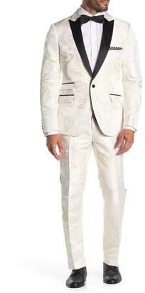 Paisley & Gray Ivory Off White One Button Peak Lapel Slim Fit Tuxedo