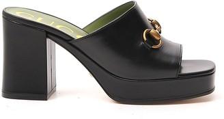 Gucci Mid-Heel Platform Slide Sandals