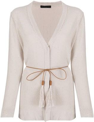Fabiana Filippi Sequin-Embellished Belted Cardigan