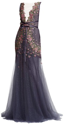 Marchesa Sequin Floral Wrapped Waist Tulle Gown
