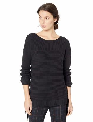 Kensie Women's Tube Yarn Sweater with Velvet Ties
