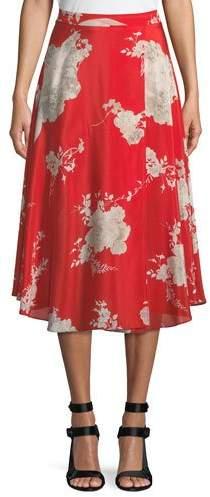 Alice + Olivia Nanette Floral-Print Mock-Wrap Midi Skirt