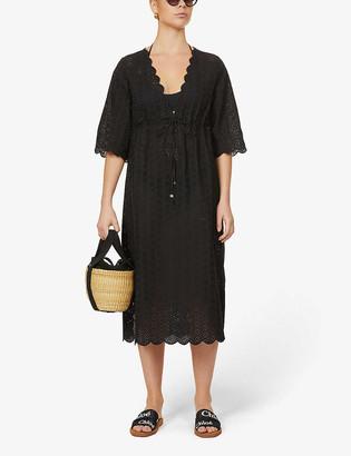 Tory Burch Semi-sheer broderie-anglaise cotton midi dress