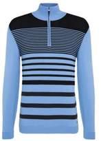 HUGO BOSS Striped Cotton Half-Zip Sweater, Slim Fit Zoco M Blue