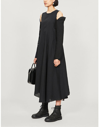 Song For The Mute Asymmetric cotton and silk-blend midi dress