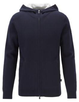 HUGO BOSS Zip Through Sweater In A Cotton Blend With Cashmere - Dark Blue